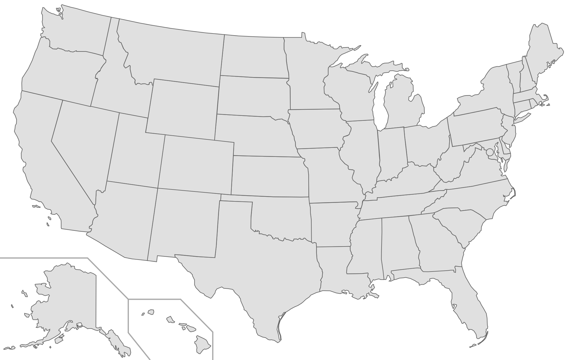 Us Map Of All States Globalinterco - Us state boundary outline map